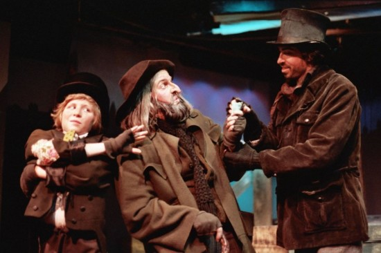 "Left to right: Todd Decker as The Artful Dodger, Dan Pessano as Fagin and Mark Norwood as Bill Sykes in GCP's 1982 production of ""Oliver!"""