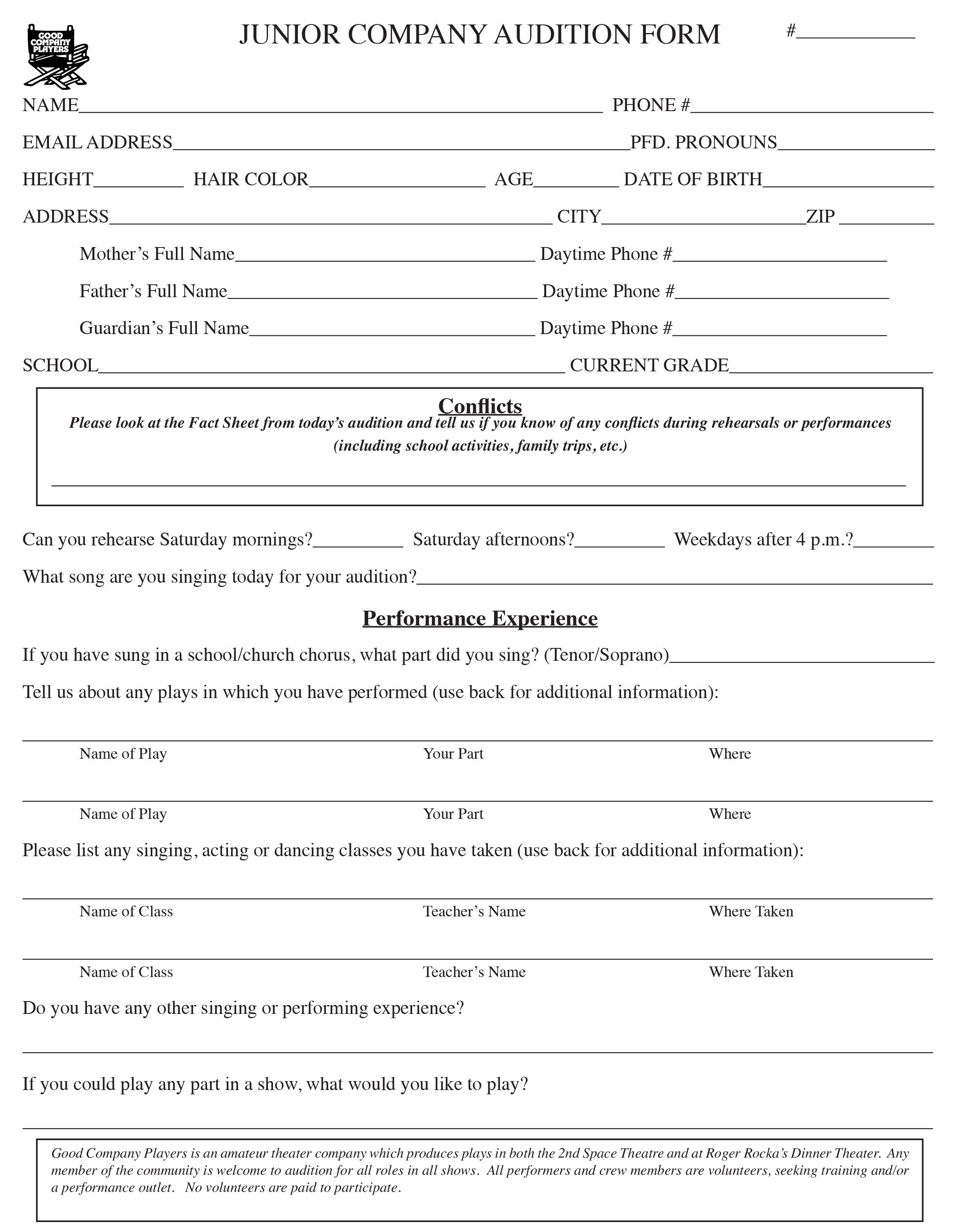 Junior Company Audition Form